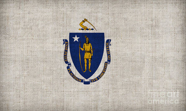 Massachusetts Poster featuring the painting Massachusetts State Flag by Pixel Chimp