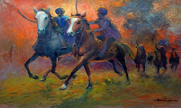 Warrior Poster featuring the painting Men In Defence by Prosper Akeni