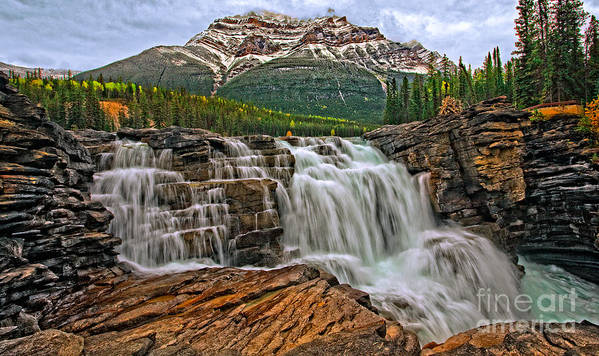 Mountain Poster featuring the photograph Mt. Kerkeslin Athabasca Falls by Rick Mousseau