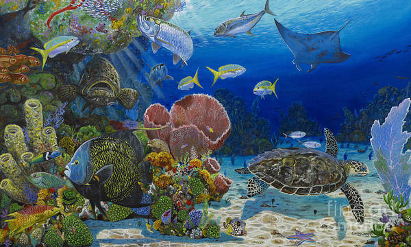 Turtle Poster featuring the painting Paradise Re0012 by Carey Chen