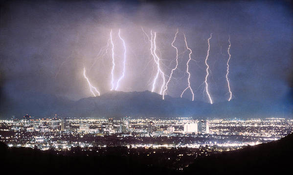 Lightning Poster featuring the photograph Phoenix Arizona City Lightning And Lights by James BO Insogna