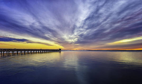 Pier Poster featuring the photograph Pier Sunrise by Vicki Jauron