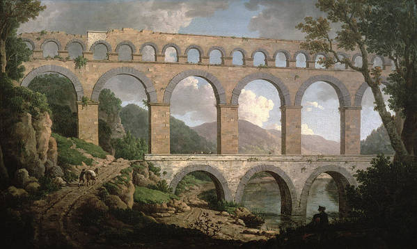 Aqueduct Poster featuring the painting Pont Du Gard, Nimes by William Marlow