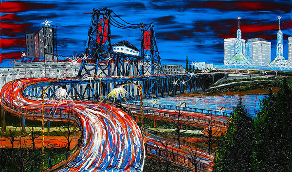 Portland City Lights Poster featuring the painting Portland Blue City Lights Over Steel Bridge 1 by Portland Art Creations