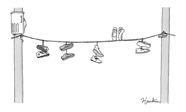 Captionless Poster featuring the drawing Several Pairs Of Shoes Dangle Over An Electrical by Charlie Hankin