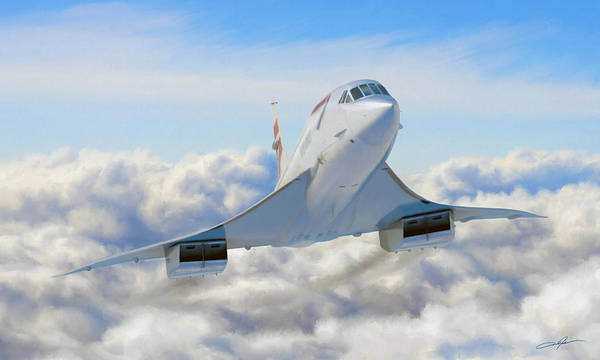 Concorde Poster featuring the digital art Speeding Above The Clouds by Dale Jackson