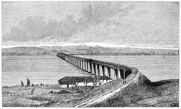 1879 Poster featuring the painting Tay Rail Bridge, 1879 by Granger