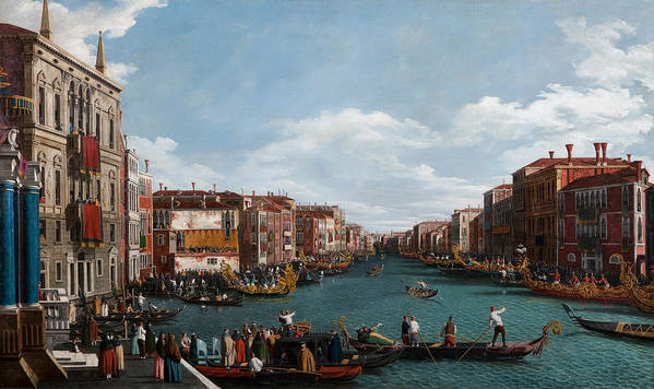 Venice; Grand Canal; Town; City; Urban; Vedute; Traffic; Busy; View; Gondola; Gondolas; Gondoliers; Gran; Gondolier; Italy; Italian; Venetian; House; Houses; Facade; Facades; Colourful; Banner; Banners Poster featuring the painting The Grand Canal At Venice by Antonio Canaletto