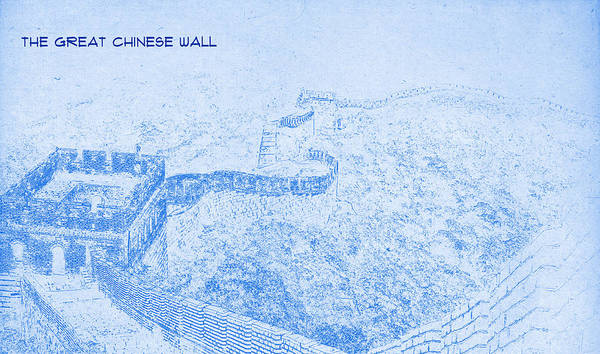 the great chinese wall blueprint drawing poster by motionage designs