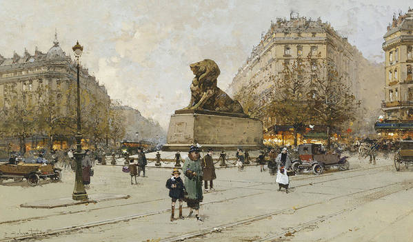 19th Century Poster featuring the painting The Lion Of Belfort Le Lion De Belfort by Eugene Galien-Laloue