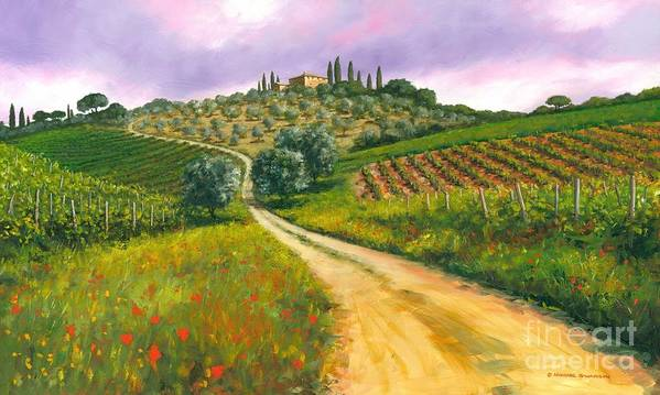 Tuscany Hills Poster featuring the painting Tuscan Road by Michael Swanson