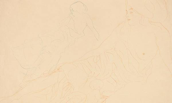 Study; Studies; Female; Two; Nude; Bare Breast; Bare Breasts; Reclining; Seated; Drapery; Sketch; Sketch; Sketches; Drawing; Drawings Poster featuring the drawing Two Studies Of A Reclining Woman by Gustav Klimt