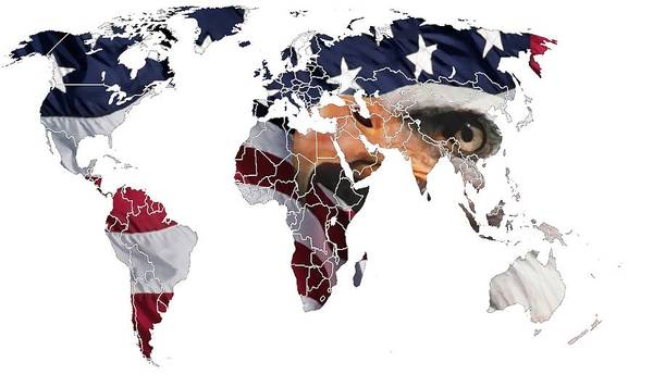 Map World Digital Art Atlas Country America Africa Asia Europe Australia Color Colorful Expressionism Impressionism Save American Usa Stars Stripes Flag Poster featuring the digital art Under The Eagles Eyes by Steve K