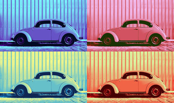 Classic Car Poster featuring the photograph Vw Beetle Pop Art Quad by Laura Fasulo