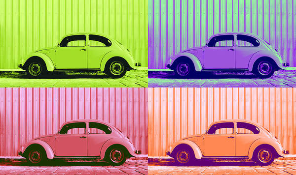 Classic Vw Beetle Car Pop Art Colors 4 Four Square Stripes Blue Purple Lime Green Orange Red Series Gallery Collage Fun Happy Bright Vibrant Pastels Color Colorful Colourful Uplifting Sunny Lively Metallic Sheet Metal Wall Lines Rivets Cobblestone Street Art Gift For Classic German Car Pop Art Lover Laura Fasulo Laurarama Samsung Galaxy Phone Case Iphone Cases Vw Pop Spring Poster featuring the photograph Vw Pop Spring by Laura Fasulo