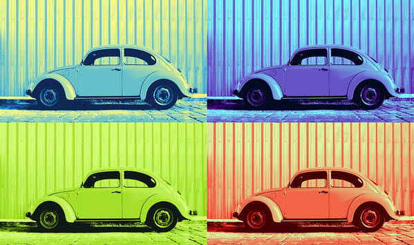 Classic Vw Beetle Car Pop Art Colors 4 Four Square Stripes Blue Purple Lime Green Orange Red Series Gallery Collage Fun Happy Bright Vibrant Pastels Color Colorful Colourful Uplifting Sunny Lively Metallic Sheet Metal Wall Lines Rivets Cobblestone Street Art Gift For Classic German Car Pop Art Lover Laura Fasulo Laurarama Samsung Galaxy Phone Case Iphone Cases Poster featuring the photograph Vw Pop Summer by Laura Fasulo