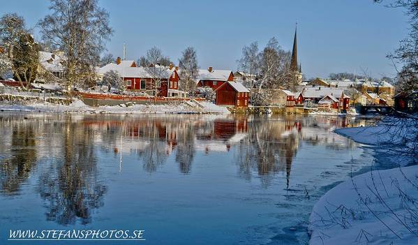 Winter View Arboga Sweden Water Beatiful Sun Snow Ice Beatiful Scenery Photography Poster featuring the photograph Winterday In Arboga by Stefan Pettersson