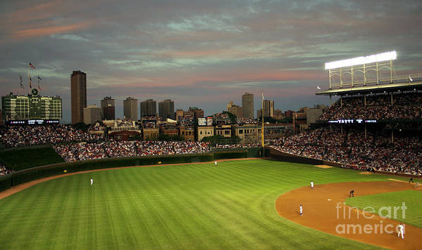 Wrigley Field Poster featuring the photograph Wrigley Field At Dusk by John Gaffen