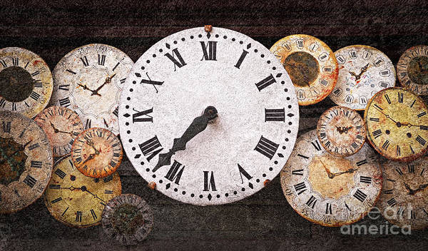 Clock Poster featuring the photograph Antique Clocks by Elena Elisseeva