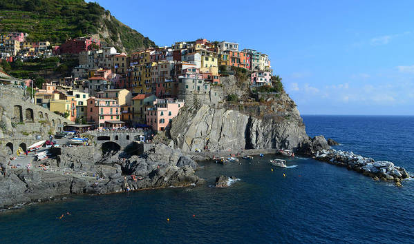 Manarola Poster featuring the photograph Manarola by Barbara Walsh