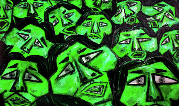 Faces Poster featuring the digital art Faces - Green by Karen Elzinga