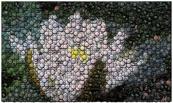 Flower Poster featuring the digital art Flower Bottle Cap Mosaic by Paul Van Scott
