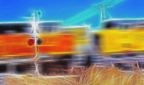 Train Poster featuring the photograph Freight Train At Railroad Crossing 2 by Steve Ohlsen