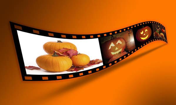 Halloween Poster featuring the photograph Halloween Pumpkin Film Strip by Amanda Elwell