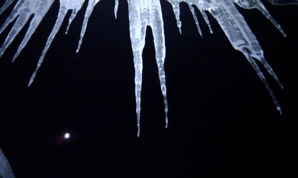 Horizontal Poster featuring the photograph Icicle Moon by Aaron Warner