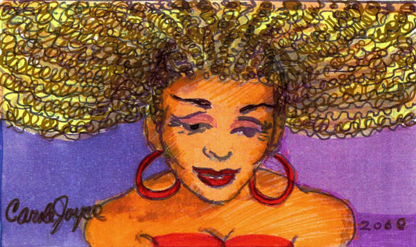 Hair Poster featuring the painting Lady In Red by Carole Joyce