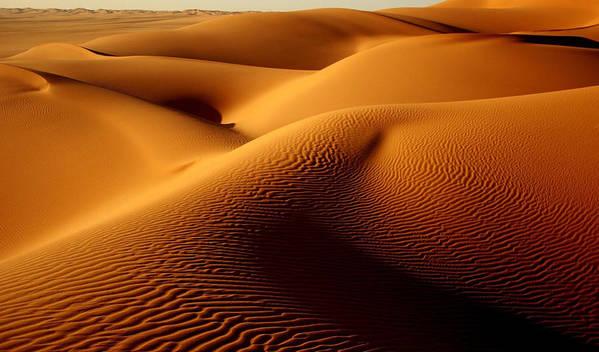 Horizontal Poster featuring the photograph Last Light In The Ubari Sand Sea, Libyan Sahara by Joe & Clair Carnegie / Libyan Soup