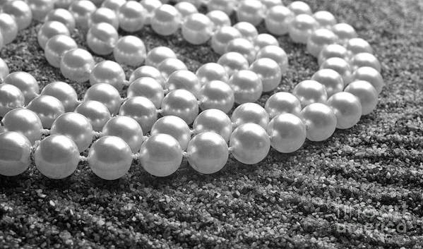 Pearls Poster featuring the photograph Pearls And Sand by Gabriela Insuratelu