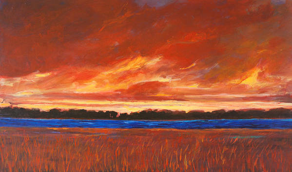 Sunset Sky Red Patty Baker Extra Large Canvas Stream River Field Meadow Trees Landscape Clouds Poster featuring the painting Red Field And Red Sky by Patty Baker