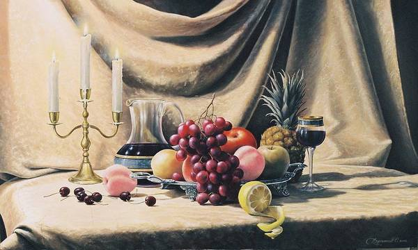 Still Life Poster featuring the painting Still Life On A Gold by Oleg Bylgakov