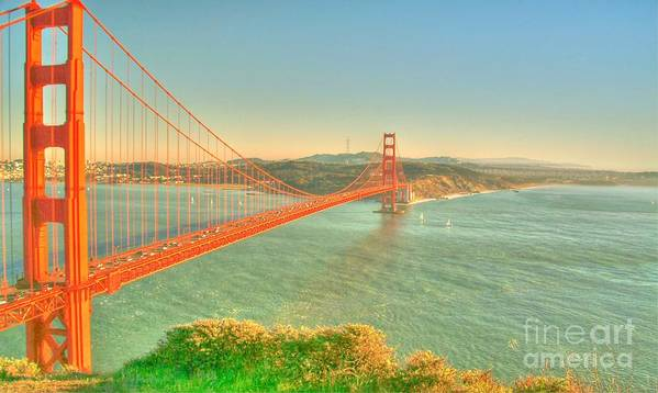The Golden Gate Bridge Poster featuring the digital art The Golden Gate Bridge Fall Season by Alberta Brown Buller