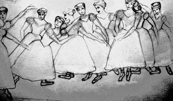 Girls Poster featuring the drawing Warming Up - The Ballet Chorus by Forartsake Studio