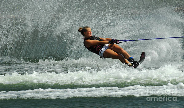 Water Skiing Poster featuring the photograph Water Skiing Magic Of Water 2 by Bob Christopher