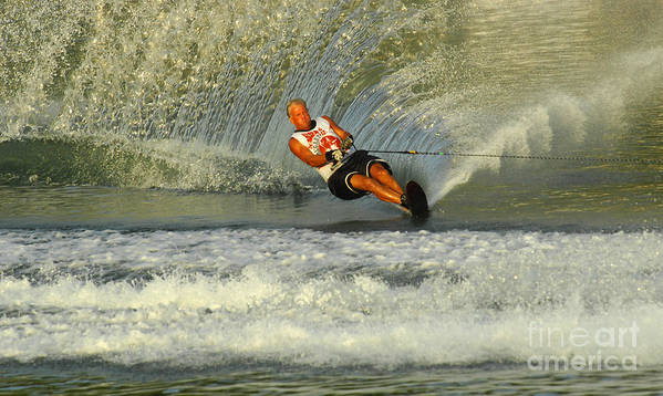 Water Skiing Poster featuring the photograph Water Skiing Magic Of Water 4 by Bob Christopher