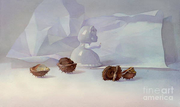 White Still Life Poster featuring the painting White Still Life II by Svetlana and Sabir Gadzhievs