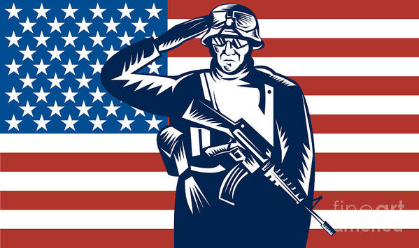 Serviceman Poster featuring the digital art American Soldier Saluting Flag by Aloysius Patrimonio