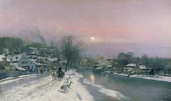 Canal Poster featuring the painting A Canal Scene In Winter by Anders Anderson Lundby