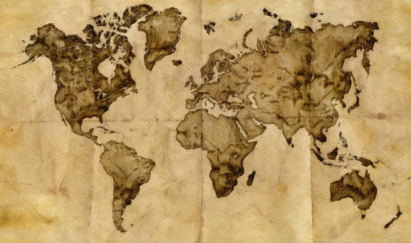 Antique Map Poster featuring the painting Antique World Map by Radu Aldea