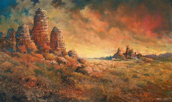 Landscape Poster featuring the painting Arizona Sunset by Andrew King
