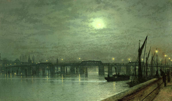 Nocturne; Night; Moon; Moonlit; River Thames; Chelsea; Boat; Steamboat Poster featuring the painting Battersea Bridge By Moonlight by John Atkinson Grimshaw