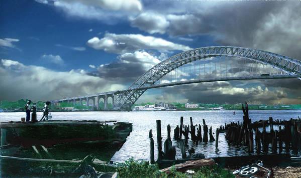 Seascape Poster featuring the photograph Bayonne Bridge by Steve Karol