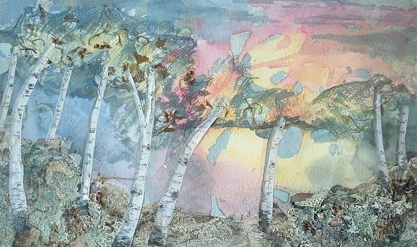 Collage Poster featuring the painting Birch Filigree by Lynn ACourt