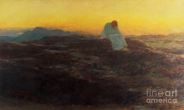 Christ In The Wilderness Poster featuring the painting Christ In The Wilderness by Briton Riviere