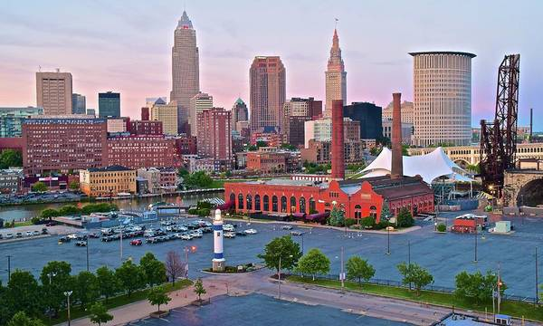 Cleveland Poster featuring the photograph Cle Sunset View From The Shoreway by Frozen in Time Fine Art Photography