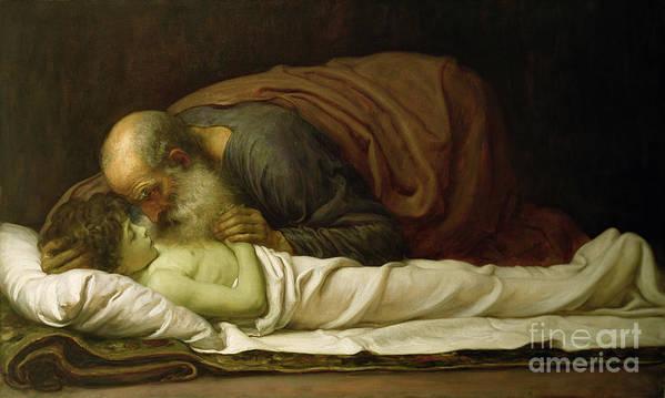 Elisha Poster featuring the painting Elisha Raising The Son Of The Shunamite by Frederic Leighton