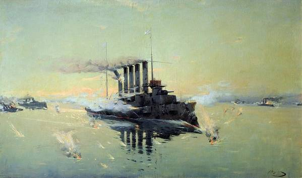 Cruiser Poster featuring the painting Fighting On July In The Yellow Sea by Konstantin Veshchilov